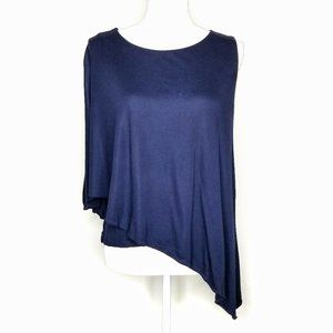 WHBM Cape Sleeve Assymetric Navy Blue Shirt Top